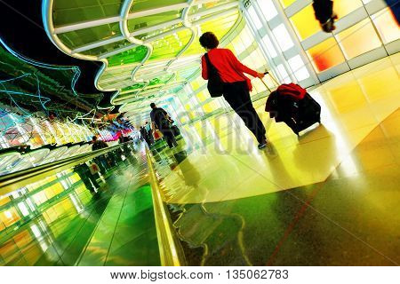 Chicago, Usa, October 16, 2011. Colorful Terminal And Escalator In Chicago Airport
