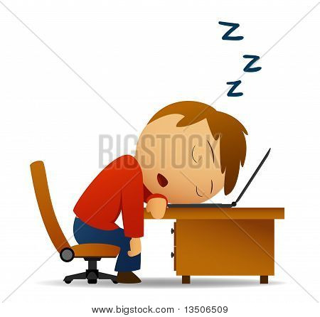 Man sleeping at work table over laptop