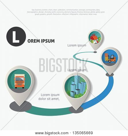 Set of geo location pointers. Urban icons infographic timeline.
