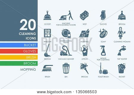 cleaning vector set of modern simple icons