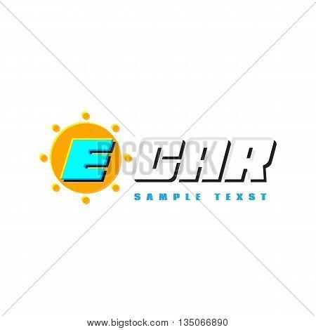 E-car logo eco car place for sample text or message