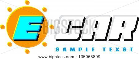 .E-car logo eco car place for sample text or message