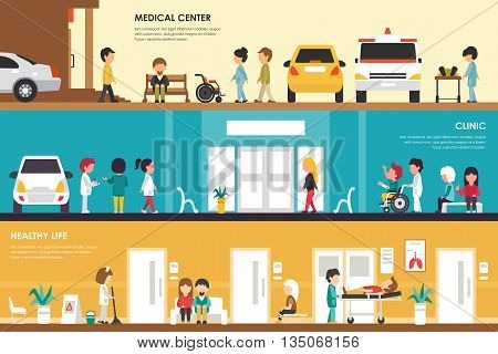 Medical Center, Clinic and Healthy Life flat hospital interior concept . Ambulance, Emergency, Laboratory. Web Vector Presentation Illustration