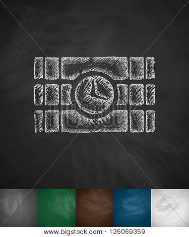 time bomb icon. Hand drawn vector illustration. Chalkboard Design