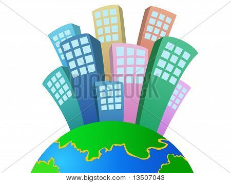 Vector cartoon town or city growing on planet