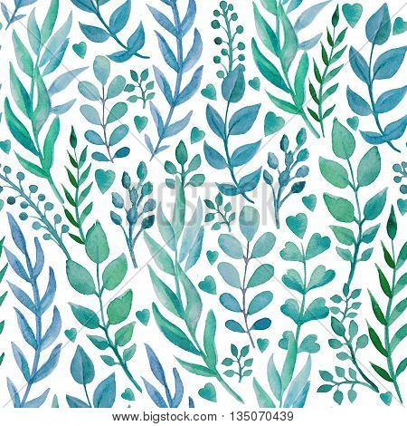 Seamless pattern with hand drawn herbs. Shades of blue on white background. Watercolor art