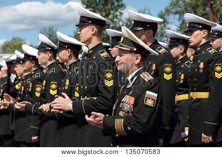 ST. PETERSBURG, RUSSIA - JUNE 4, 2016: Cadets of Kronstadt naval cadet corps during the opening ceremony of the Nord Stream Race. Five teams compete in the race this year