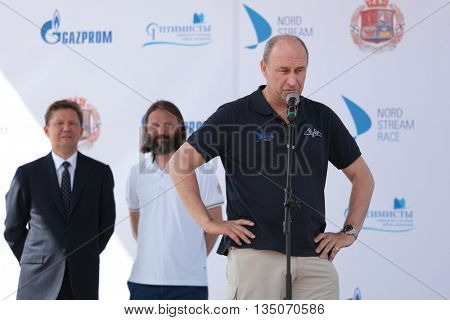 ST. PETERSBURG, RUSSIA - JUNE 4, 2016: Skipper of team Great Britain Adrian Lower during the opening ceremony of the Nord Stream Race. British team is newcomers of the race