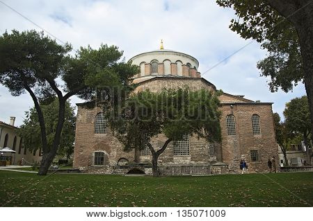 ISTANBULTURKEY - OCTOBER 9 2014: The church of Saint Irene in Topkapi Palace in Istanbul