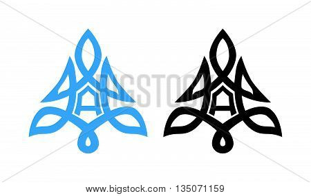 Symbol of Alpine Mountains for Tourism and Travel Company, Vector Ornament in shape of Alps
