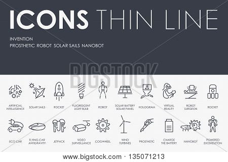 Thin Stroke Line Icons of Invention on White Background