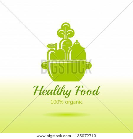 Healthy organic food logo icon with fresh fruits, vegetables and pan for cooking. Siluette apple fruit, carrot, eggplant. Sign for restaurant, supermarket, farmers market. Green color