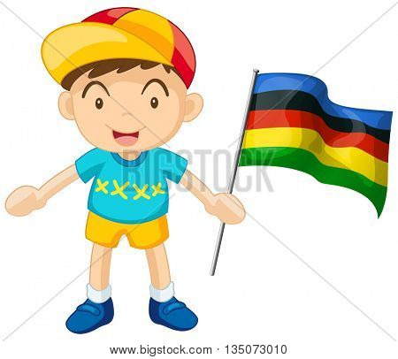 Little boy holding colorful flag