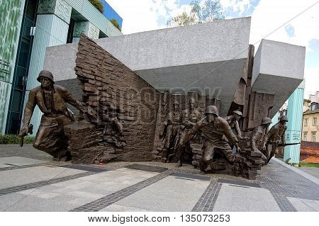 Warsaw, Poland - June 11: Warsaw Uprising Monument on June 11, 2016 in Warsaw, Poland