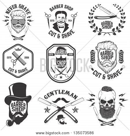 Barber shop emblems. Set of the barber tools. Different hairstyles. Design elements for logo label emblem sign badge.