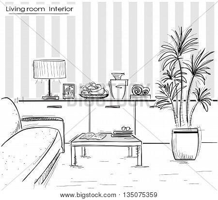 Interior Of Living Room Design.vector Black Hand Drawing Illustration