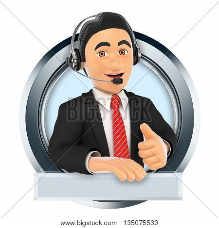 3d logo illustration. Call center. Custom service. Isolated white background.