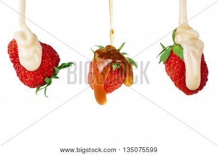 Strawberry Set poured condensed milk and jam on white background