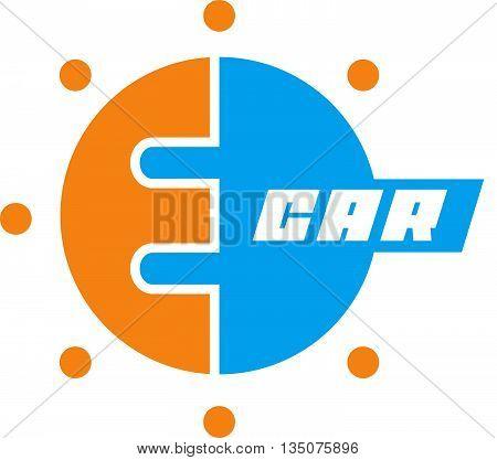 E-car logo eco car color,  concept, e-auto