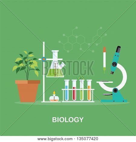Biology laboratory workspace and science equipment microscope cnceptual Scientific research vector illustration.