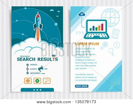 Search results and concept background with rocket. Project Search results template and Set of Banners. Vector Illustration. Eps10 Format.