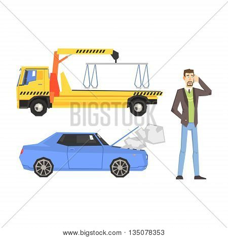 Evacuation Truck, Broken Car And Man Calling Evacuator Flat Simplified Colorful Vector Illustration Isolated On White Background