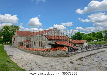 the rebuild roman city of carnuntum near vienna austria