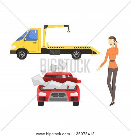 Evacuation Truck, Broken Car And Woman Calling Evacuator Flat Simplified Colorful Vector Illustration Isolated On White Background