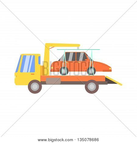 Truck Evacuating Red Car Flat Simplified Colorful Vector Illustration Isolated On White Background