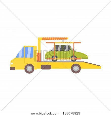 Truck Evacuating Green Car Flat Simplified Colorful Vector Illustration Isolated On White Background