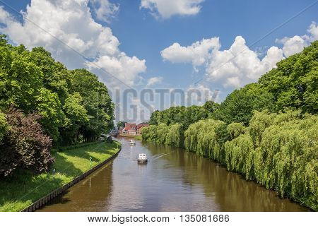 Boats on the river Ems in Meppen Germany