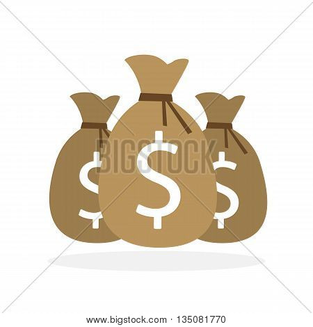 Three isolated money bags on white background. Making money, earning. Good investment. Dollar money bag.
