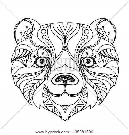 hand drawn ink doodle bea on white . Coloring page - zendala, design for adults, poster, print, t-shirt, invitation, banners, flyers.