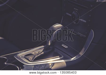 Wroclaw, Poland, May 28, 2016: Close Up On Ford C-max Gear Box  On Motoshow On May 28, 2016 In Polan