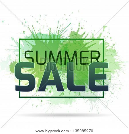 Banner with watercolor splashes on a summer sale. Vector element for your design