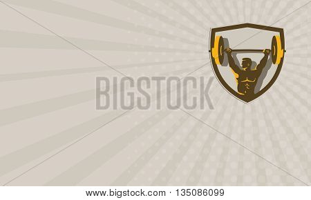 Business card showing illustration of a weightlifter lifting barbell weights with both hands looking to the side viewed from front set inside shield crest done in retro style.