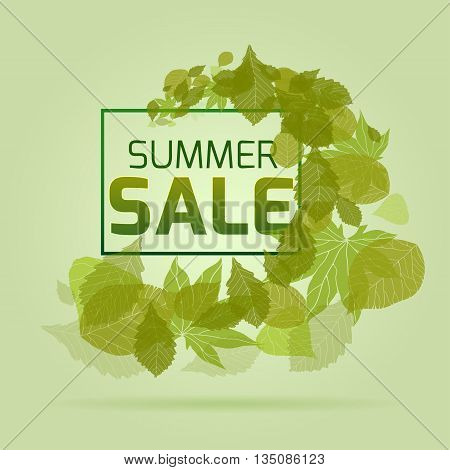 Banner with leaves on a summer sale. Vector element for your design