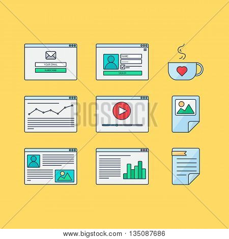 Web Template for site forms of email subscribe login to account watching video online shopping blog and infographics. Vector