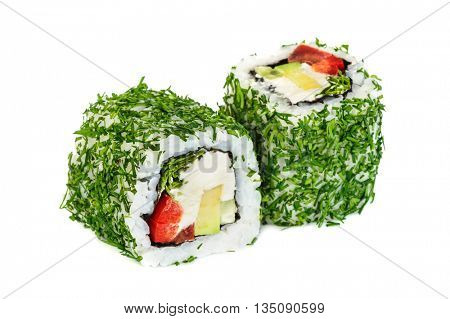 Uramaki vegetable maki sushi with dill, two rolls isolated on white. Letuce, philadelphia cheese, avocado, red bell pepper