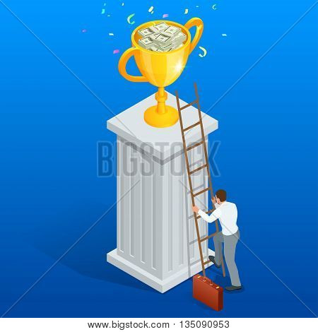 Win trophy success movement through obstacle flat 3d isometry isometric business concept web vector illustration. Flat 3d vector isometric illustration