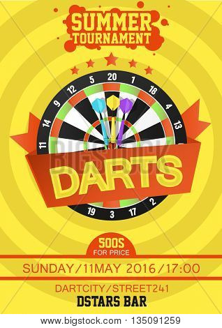 Darts Tournament Poster. Dartboard with dart in the center. Flat style. Vector Illustration.