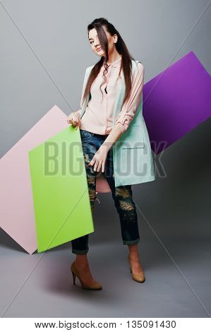 Full Length Of Beautiful Girl, With Green Blank Advertising Board , Over Gray Background And Pink An