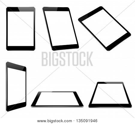 vector design mock up black tablet isolated on white