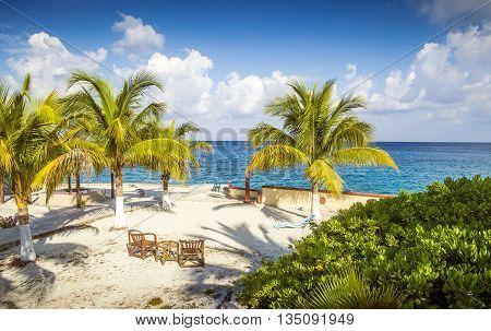 Coast of Cozumel island in Quinta Roo, Mexico