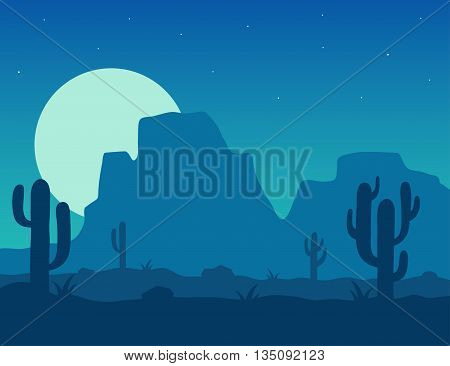 Desert landscape under the night sky vector illustration. Night desert area with silhouettes of stones cacti plants and mountains. Background Mexico or Arizona desert under the moon.