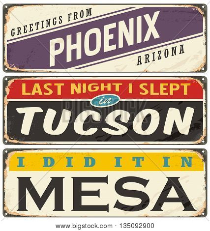 Vintage metal signs collection with USA cities. Travel souvenirs on grunge damaged background.