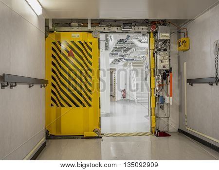 Watertight doors on a ship - part of safety system