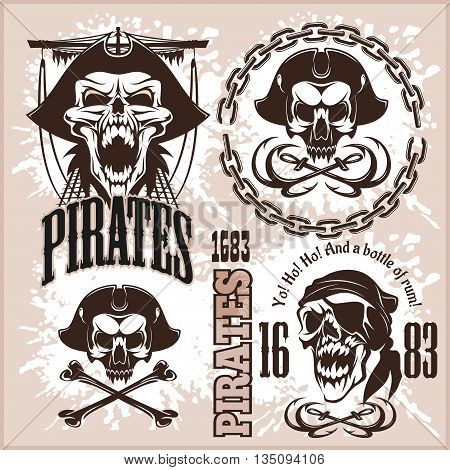 Vintage Pirate Labels or Design Elements With Retro Textures on light background.