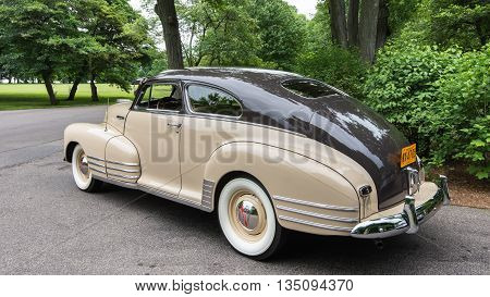 GROSSE POINTE SHORES MI/USA - JUNE 14 2016: A 1947 Chevrolet 2dr Fastback car at the EyesOn Design car show, held at the Edsel and Eleanor Ford House, near Detroit, Michigan.
