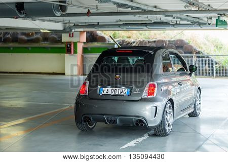 Trieste, Italy June 18 2016:Photo of a Abarth 595 Competizione .The 595 differs substantially from that Tourism for the aggressive appearance and a few deliberately exaggerating the sporty character.